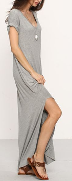 Grey Rolled-cuff Pockets Split Maxi Dress. V-neck, soft cotton material and casual loose style.