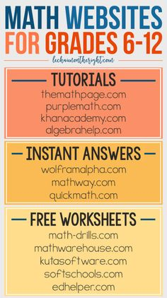 Free Math Websites for Grades 6-12 - great for homeschool math #STEM #education…                                                                                                                                                                                 More