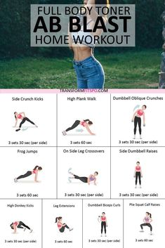 Blast Your Abs With This Home Workout! Give your abs a blast with this home workout for your whole body. Build your confidence and turn heads! This workout if done frequently will show you results in speedy time. Fitness Workouts, Toning Workouts, Fitness Motivation, Fitness Goals, Fitness Plan, 15 Minute Workout, Best Ab Workout, Abs Workout For Women, Workout Abs