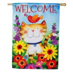 """Welcome Kitty Whimsigarden"" Printed Suede Seasonal Banner; Polyester 29""x43"" #springtime #springflowers #banner #flagsaflying"