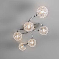 Plafon Sfera Wire 6 chrom Diamond Earrings, Art Deco, Wire, Jewelry, Interior Lighting, Save Energy, Crystals, Fabric Shades, Glass Ornaments