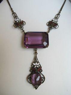 Art Nouveau Jugendstil Amethyst Glass Enamel Dangling Necklace