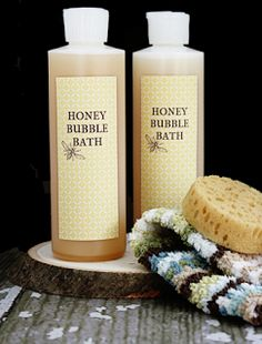 Homemade Honey Bubble Bath - (livelaughrowe) I would use almond oil instead of baby oil and add a touch of Vanilla EO. :-)