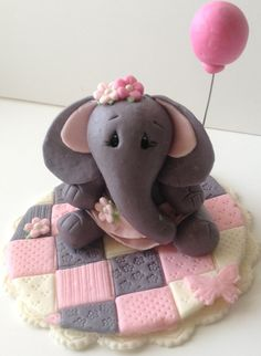 Fondant Baby Shower First Birthday Party Edible Figures Quilt Fondant Cake Toppers, Fondant Baby, Fondant Figures, Elephant Cake Toppers, Elephant Cakes, Pink Elephant Party, Ballerina Cookies, Baby Reveal Cakes, Cake Pops