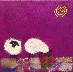 """Slightly Sheepish I"" mixed media on canvas, 6x6"