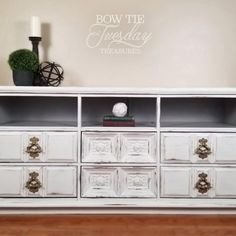 Repurposed dresser into an entertainment console center. Chalk painted in white with distressing and light storage sections. Chalk Paint Dresser, Painted Dressers, White Chalk Paint, Chalk Paint Furniture, Painted Furniture For Sale, Repurposed Furniture, Diy Furniture, Furniture Design, Antique Buffet