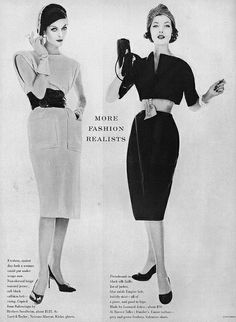1950s The new look: woman would wear wide cinch belts woman on the L, and contour belts woman on the R.