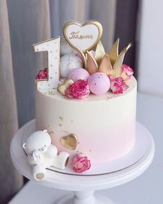Baby Girl Birthday Cake, Birthday Cake With Flowers, 1st Birthday Cakes, Unique Cakes, Creative Cakes, Cupcakes, Mom Cake, Cake Supplies, Dream Cake