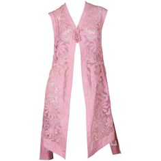 Preowned Edwardian Cotton Applique On Cotton Net Vest (51.450 RUB) ❤ liked on Polyvore featuring outerwear, vests, jackets, vintage, purple, cotton vest, vintage vest, pink vest, purple vest and net vest