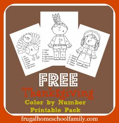 FREE Thanksgiving Color by Number Pack - Frugal Homeschool Family