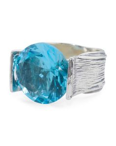 Made In Israel Sterling Silver Blue Cubic Zirconia High Set Ring