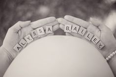 Ideas and inspiration pregnancy and maternity photos Picture Description Baby's name with scrabble tiles. Pin found by Freebies-For-Baby… Photos Prénatales, Baby Bump Photos, Newborn Pictures, Maternity Pictures, Pregnancy Photos, Baby Pictures, Pregnancy Photo Shoot, Unique Maternity Photos, Family Pictures