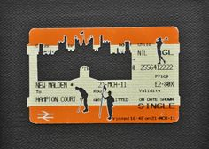 """Please Mind The Gap: An Afternoon At Hampton Court    Cut Out Train tickets on canvas  2011   5""""x 4""""    £90 including frame"""