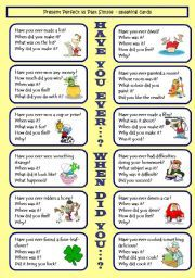 English worksheet: Have you ever...? / When did you...? Present Perfect VS Past Simple GAME