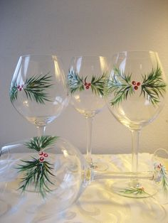 Handpainted Christmas wine glasses set of four by TivoliGardens