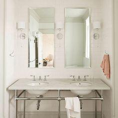 Brown Hex Tiles, Transitional, bathroom, Jessica Helgerson Interior Design