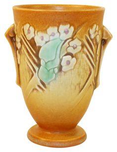 Roseville Pottery Clemana Brown Vase 750-6 Vintage Pottery, Pottery Art, Roseville Pottery, American Art, Wildlife, Arts And Crafts, Art Deco, Porcelain, Budget