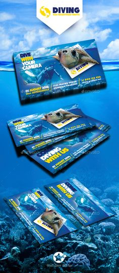 Ocean Diving Business Card Template PSD, InDesign INDD. Download here: http://graphicriver.net/item/ocean-diving-business-card-templates/15917286?ref=ksioks