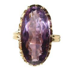 Antique Gold Oval #Amethyst Basket Claw Set #CockatailRings