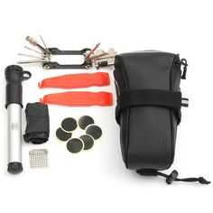 Portable MTB Road Mountain Cycling Bike Bicycle Repair Tools Bag Folding Tire Repair Multifunctional Kit Set With Pouch Pump