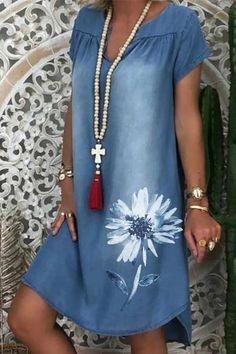 Types Of Sleeves, Dresses With Sleeves, Short Sleeve Dresses, Short Sleeves, Long Sleeve, Mini Vestido Jeans, Denim Midi Dress, Denim Dresses, Floryday Vestidos