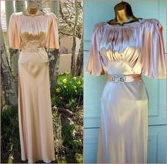 Vintage 20s Wedding or Cocktail Gown - Shell Pink Liquid Satin - Small but Stunning on Etsy, $1,100.00