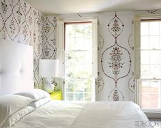 This ornate wallpaper is made from ... stickers! Talk about a project that requires patience (but wow).
