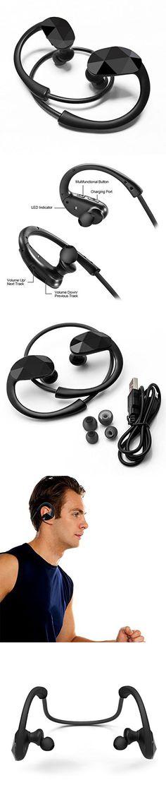 G-Cord® Bluetooth 4.0 Wireless Sport Headphones Sweatproof Running Gym Exercise Headsets - Black