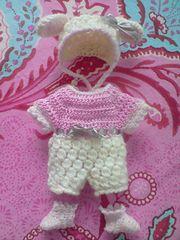 Ravelry: Sheep Bonnet, Romper and Socks for a babydoll (reborn) pattern by Sonea Delvon