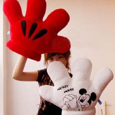 1Pcs Retail Plush Toy Xmas Gift MICKEY & Minnie MOUSE MICKEY Double Faced Big Gloves Soft Plush Cushion Pillow Free Shipping #Affiliate