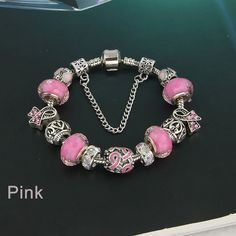 Pink Handmade Pandora Style Breast Cancer Awareness Bracelet - 20% of Sales Go To Charity