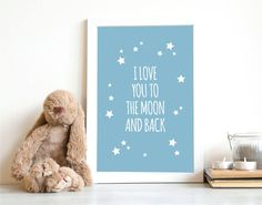 Printable I Love You to the Moon and Back Poster  by mypaperparade, €3.00
