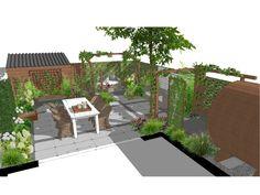 Tuinontwerp SketchUp romantische tuin met barrel sauna bij nieuwbouwhuis