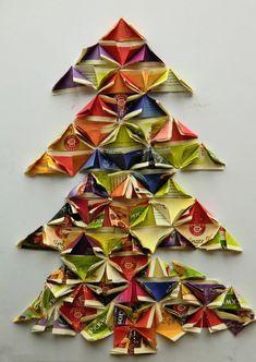 PAPÍROVÝ STROMEČEK, CO PÍCHÁ - skládat jednoduché tvary a pokládat je ve správné poloze do vymezeného prostoru (reliéfní plastika z papíru)