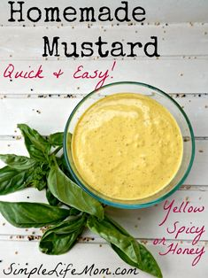 Tips for making smooth or grainy mustard, hot, yellow, or honey mustard.Best recipe for homemade mustard with brown and white seeds. For if you have reintroduced mustard. Honey Mustard, Mustard Recipe Canning, Recipe For Mustard, Homemade Mustard, Real Food Recipes, Yummy Food, Tapas, Gourmet, Vegan Recipes