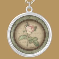 Redoute' Botanical Vintage Rose Pendant Necklace by DoodleFairy