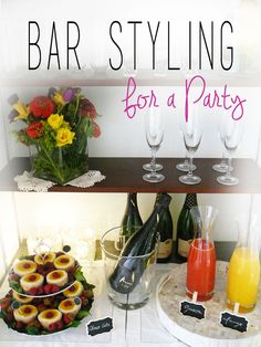 BAR STYLING | BAR DECOR | Splendor Styling Bar decor. Signature cocktail. Dessert and cocktails. Minis cheese cakes. Bubbly.