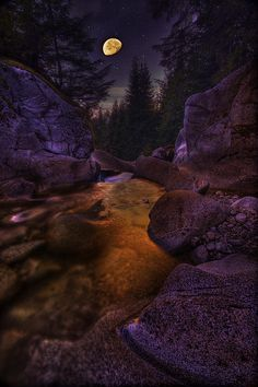 Moon Over Humphrey Falls - British Columbia, Canada
