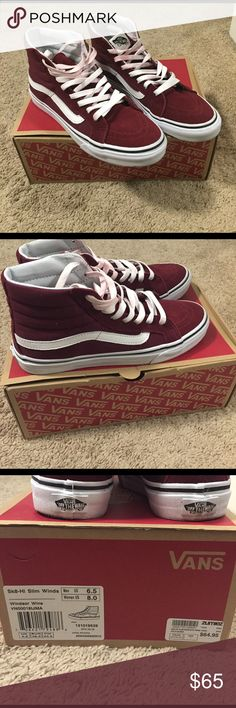 Sk-8- Hi Slim burgundy vans Women's Sz 8.5 Brand new worn once. Sz 8.5 in women's and 6.5 in Men's. Paid $70 at Zumiez. Laces at the top turned a color because of the burgundy dye from the shoes. You can wash the laces with bleach and it should come out. No trades. Will not go under $60. These are NWT. Keep in mind these are really trendy right now  Vans Shoes Sneakers