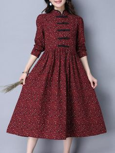 Folk Style Women Long Sleeve Frog Buttons Printed Swing Dress - New Styles For Long Dresses Frock For Women, Casual Dresses For Women, Clothes For Women, Cheap Dresses, Sexy Dresses, Summer Dresses, Floral Dresses, Women's Fashion Dresses, Dress Outfits