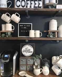 Kitchen Wall Art For Coffee Area and Mugs - Best Kitchen Wall Decor Ideas: Cute Modern Kitchen Wall Art, Signs, Pictures, Accessories and Decorations Coffee Bar Station, Home Coffee Stations, Coffee Bars In Kitchen, Coffee Bar Home, Decoration Bedroom, Wall Decor, Wall Art, Coffee Area, Coffee Cup