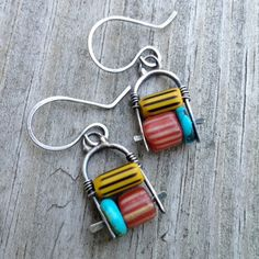 Silver Dangling Earrings Colorful African Trade Beads by artdi, $46.00