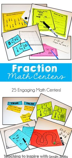 This resource includes 25 math centers that review all the Fractions Standards for 5th Grade Common. Rigorous and Engaging!