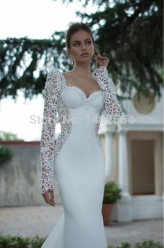 Find More Wedding Dresses Information about 2015 New Romantic Illusion Lace Mermaid Wedding Dresses Sexy Backless Long Sleeve Sweetheart Chiffon Custom Made Bridal Gowns,High Quality gown corset,China dress storage Suppliers, Cheap gown pajamas from Zona's store on Aliexpress.com