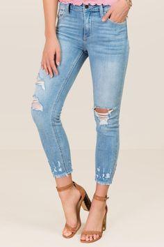 Harper Mid Rise Destructed Chewy Hem Crop Jeans