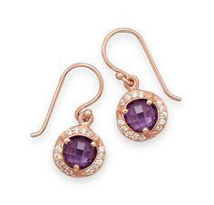 14 Karat Rose Gold Plated Purple CZ Earrings