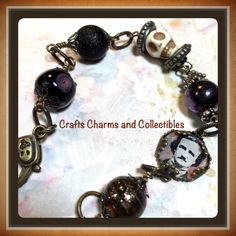 POE, Skull, altered art charm bracelet, ooak, ebsq, jewelry, beaded bracelet, Prim, gothic, all handmade - pinned by pin4etsy.com