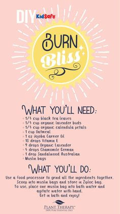 The real damage done by a sunburn can take months for your body to repair. Try this luxurious DIY to pamper your sunburned skin and start feeling better! Essential Oils Cleaning, Essential Oil Uses, Black Tea Leaves, Plant Therapy, Pure Oils, Carrier Oils, Diffuser Blends, Feel Good, Burns