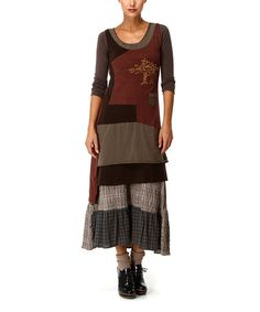 Another great find on #zulily! Chocolate Brown Patchwork Scoop Neck Maxi Dress #zulilyfinds