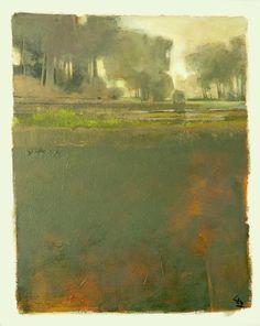 Una curva en el río... árboles envuelta en niebla... un toque de amanecer... más representacional que resumen... todavía... primer plano profundamente textured y cálido Naranja pintar debajo... hacen de este un híbrido... a caballo entre lo real y lo abstracto. Acrílico sobre lienzo... 16 X 20